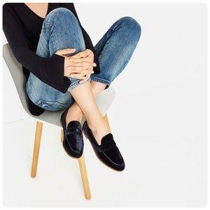 Zara Trafaluc Blue Velvet Slip On Loafers Flats 6